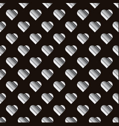Silver hearts seamless pattern texture of vector