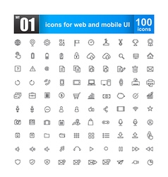 Simple line icons for web design and mobile ui vector