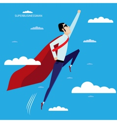Superhero businessman flying in sky vector
