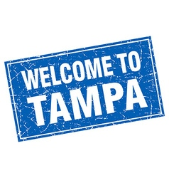 Tampa blue square grunge welcome to stamp vector