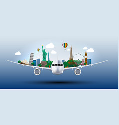 the concept travel the world on the airplanes vector image