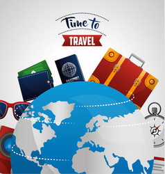 time to travel around the world vector image