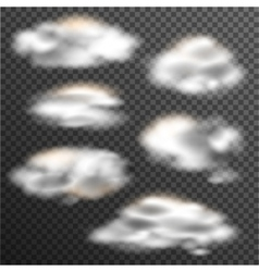 Transparent clouds collection of various shapes vector