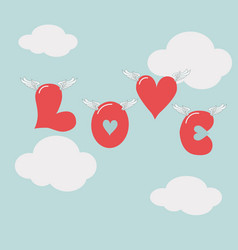 valentine39s day love hearts flying in air vector image