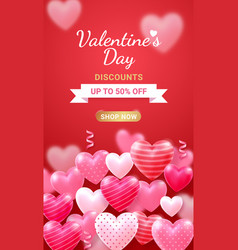 valentines day card with heart 3d and ribbon vector image