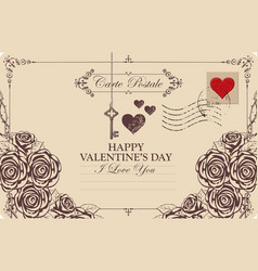 vintage valentine card with key heart and roses vector image