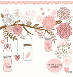 Wedding Mason Jar Floral vector image