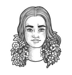 woman with blooming hair sketch vector image