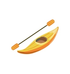 Yellow Plastic One Person Canoe Type Of Boat Icon vector image