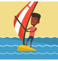 Young man windsurfing in the sea vector
