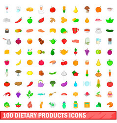 100 dietary products icons set cartoon style vector image