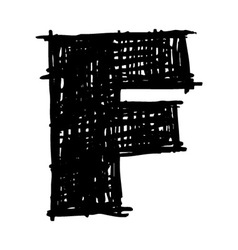 F - hand drawn character sketch font vector image