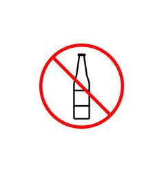 no alcohol line icon prohibition sign forbidden vector image