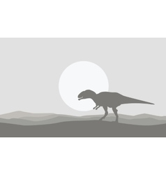 On the desert mapusaurus scenery of silhouettes vector