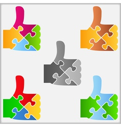 Puzzle Thumbs Up Symbol vector image vector image
