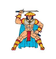 samurai warrior standing front with swords vector image vector image