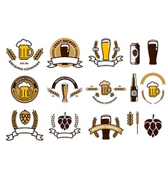 Set of craft beer emblems and logo templates vector image vector image
