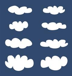 White clouds on dark blue sky background set vector image