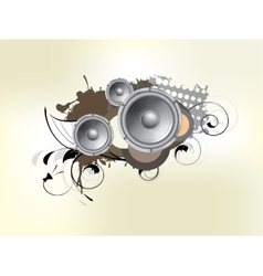 Abstract bckground with subwoofer and floral vector image