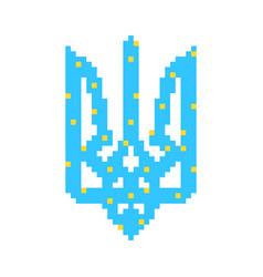 blue and yellow pixel art ukrainian emblem vector image