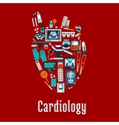 Cardiology symbol with flat silhouette of a heart vector image