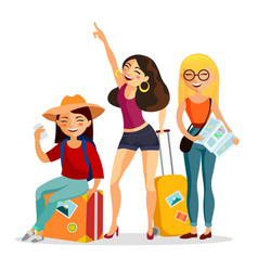 girls traveling together flat vector image vector image