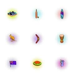 Tourism in Australia icons set pop-art style vector image vector image
