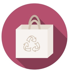 Trendy round eco recycle bag icon with long shadow vector image