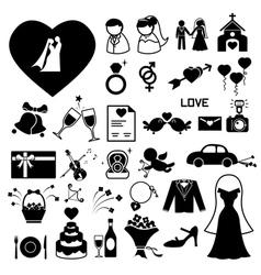 Wedding icons set vector image vector image
