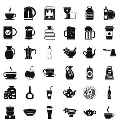 dishes icons set simple style vector image vector image