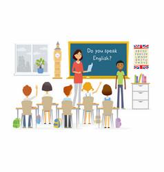english lesson at school - cartoon people vector image vector image
