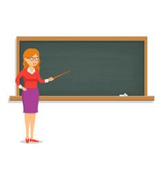 female teacher teaching a lesson on the chalkboard vector image