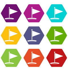 golf flag icon set color hexahedron vector image
