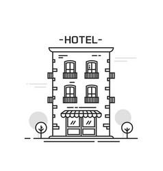 hotel building line outline cartoon style vector image vector image