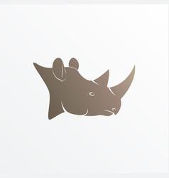 image of brown rhino head vector image