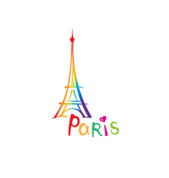 paris sign french famous landmark eiffel tower vector image