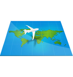 Plane the world map with concept of three-dimensio vector