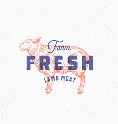 retro print effect farm fresh lamb meat abstract vector image