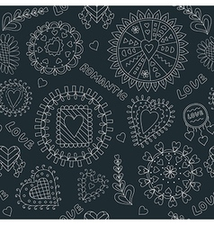 Seamless Black and White Romantic Pattern vector image