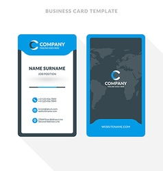 Double sided business card template blue vector image vertical double sided business card template blue vector image flashek Images