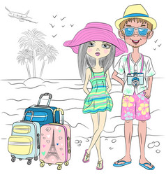 hipster traveler couple on the sea beach vector image vector image