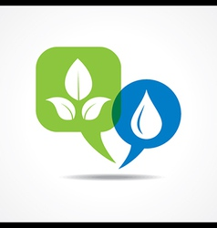 Leafs and waterdrop in message bubble vector image vector image