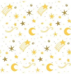 star night seamless pattern yellow white vector image