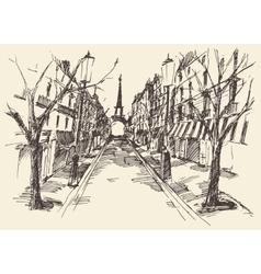 Streets Paris France Vintage Engraved Hand Drawn vector image vector image