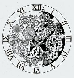 watch parts clock mechanism with cogwheels vector image