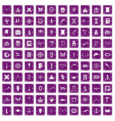 100 archeology icons set grunge purple vector