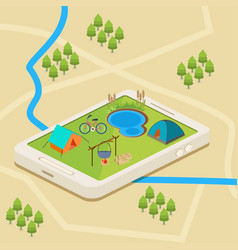 a mobile map of a campsite vector image