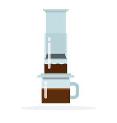Aeropress coffee method flat isolated vector