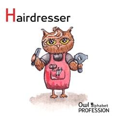 Alphabet professions Owl Letter H - Hairdresser vector