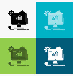 analytics chart seo web setting icon over various vector image